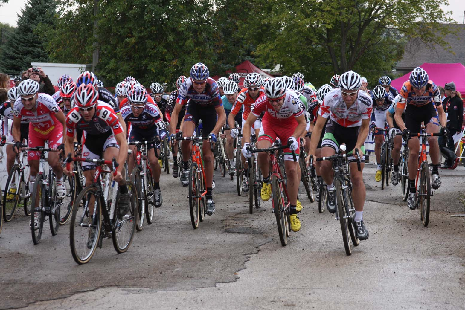 The holeshot was taken by Andy Jacques-Maynes (Bissel Pro Cycling) for the second day in a row. by Amy Dykema