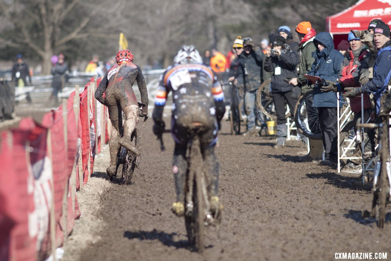 A tough day in the pits. Pietro and Webber before they were down to one bike.  © Cyclocross Magazine
