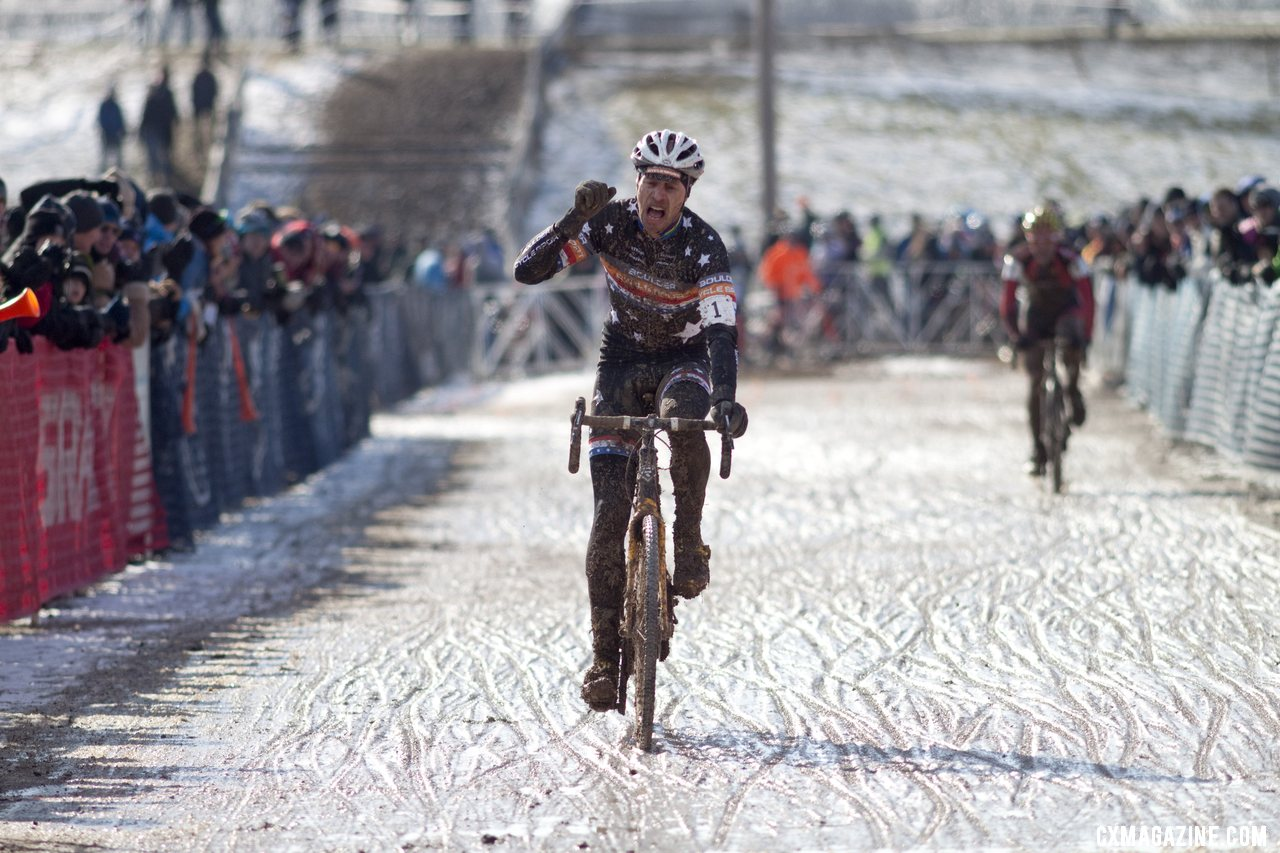 Webber finds satisfaction with this third place. Masters Men 40-44, 2013 Cyclocross World Championships. © Cyclocross Magazine