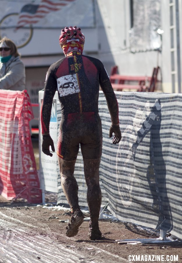 Pietro understandably upset with his luck and the lack of power washers. Masters Men 40-44, 2013 Cyclocross World Championships. © Cyclocross Magazine