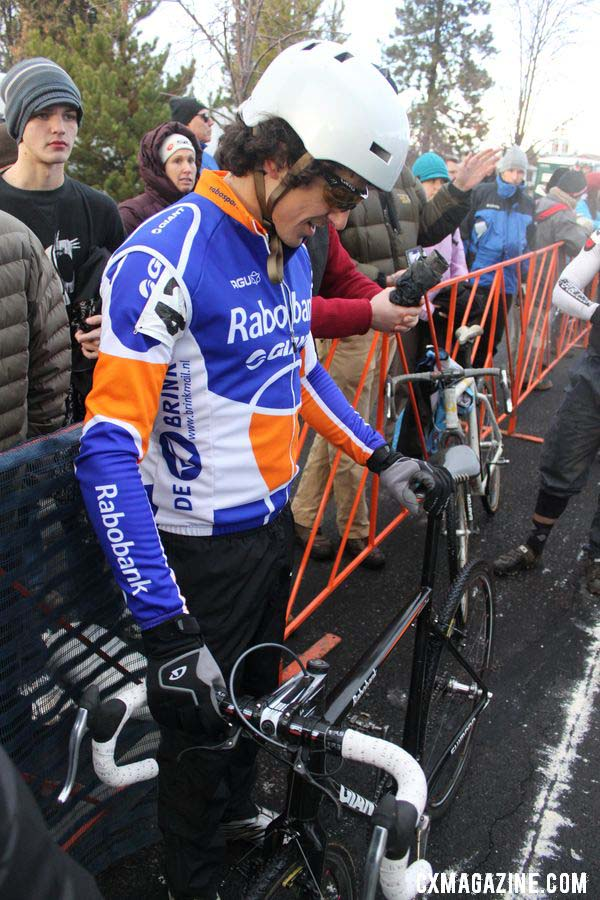 Craig contemplates his bike before the championship race. © Cyclocross Magazine