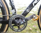 Dombroski uses SRAM Red Cranks and Crank Brother Candy 11 pedals. © Matt Roy
