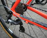 The Dura Ace rear derailleur handles the rear gear changes. ? Cyclocross Magazine
