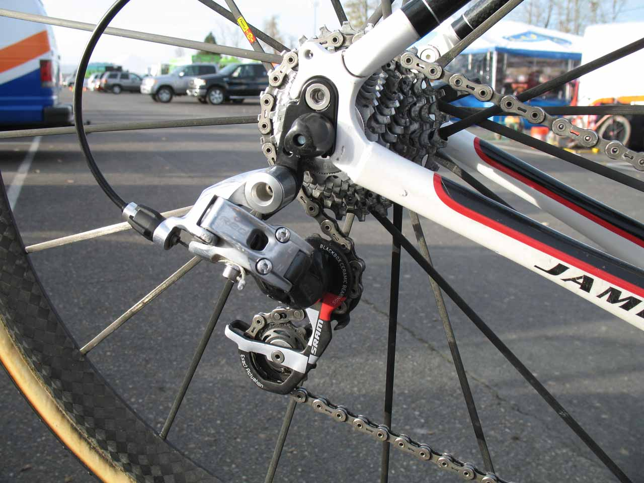 A Red rear derailleur moves the chain through the cogs. ? Cyclocross Magazine