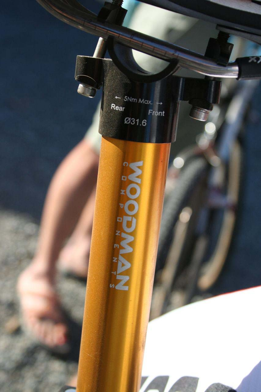 Woodman Components provides the light but strong seatpost. © Cyclocross Magazine