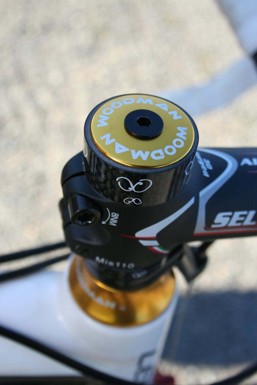 Woodman's distinctive logo shows they supply the carbon spacers as well. © Cyclocross Magazine