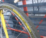 Curley uses a box section rim and Tufo tire on the front. © Cyclocross Magazine