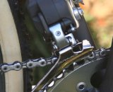 The Di2 front derailleur is bulkier than cable actuated models. © Jamie Mack
