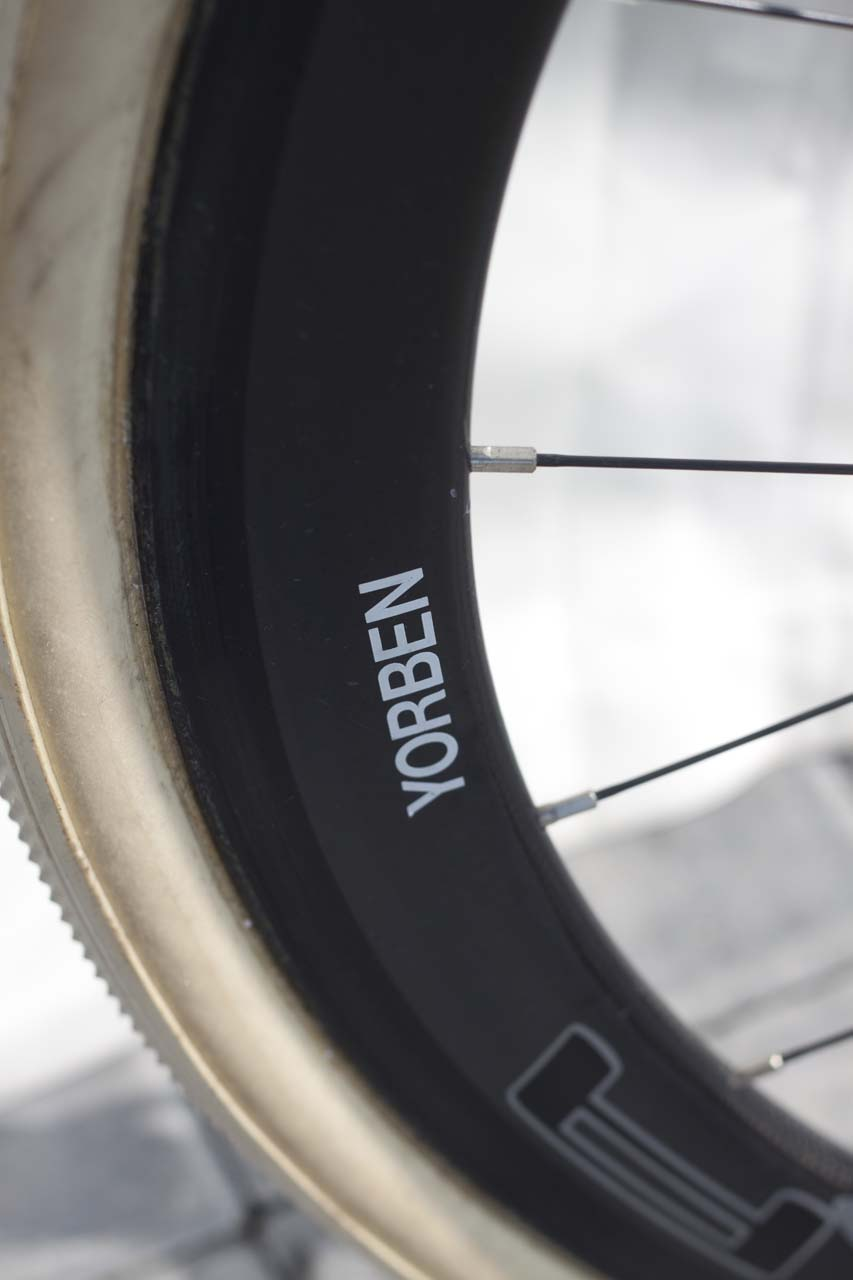 Van Tichelt\'s name on his wheelset. © Cyclocross Magazine