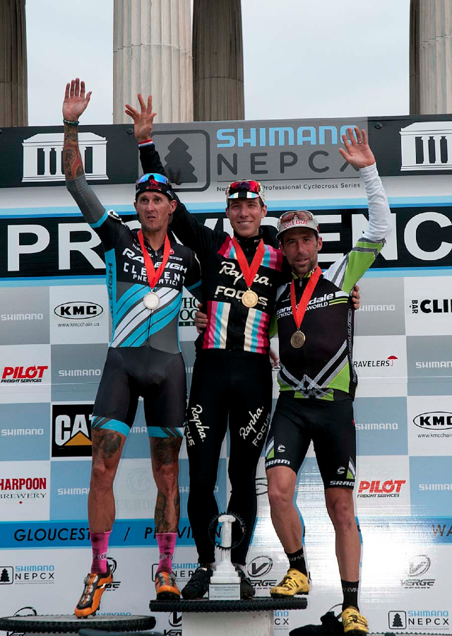 Jeremy Powers (Rapha FOCUS), center, Ben Berden (Raleigh Clement), left, and Tim Johnson (Cannondale p/b Cyclocrossworld.com) take the podium at the close of day 1 of the 2013 Providence Cyclocross Festival. © Kevin White