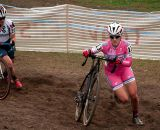 Elle Anderson (California Giant Strawberry/Specialized), right, and Katie Compton (Trek Cyclocross Collective) battle it out for the last two spots on the podium. © Kevin White