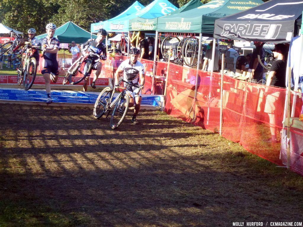 Most riders had no trouble navigating the barriers.  © Cyclocross Magazine