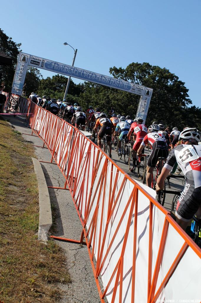 The field is strong out heading through the start-finish.© Cyclocross Magazine