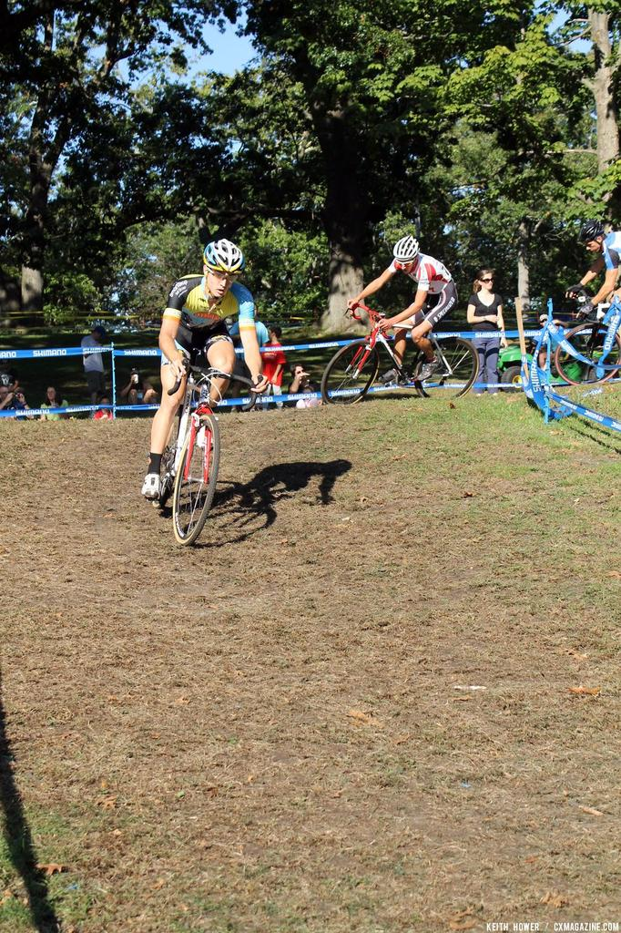 Riders come out of a sharp turn and begin a fast descent. © Cyclocross Magazine© Cyclocross Magazine
