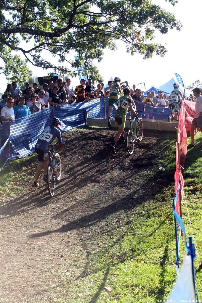 A pack of four makes it over the barriers. © Cyclocross Magazine