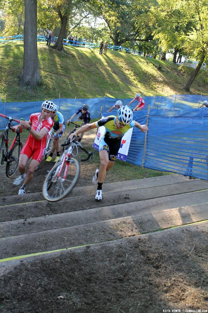 A rider nearly loses his bike on the stairs. © Cyclocross Magazine