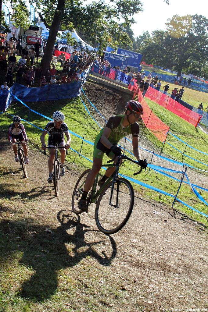 A steeper section of the course has riders out of the saddle. © Cyclocross Magazine