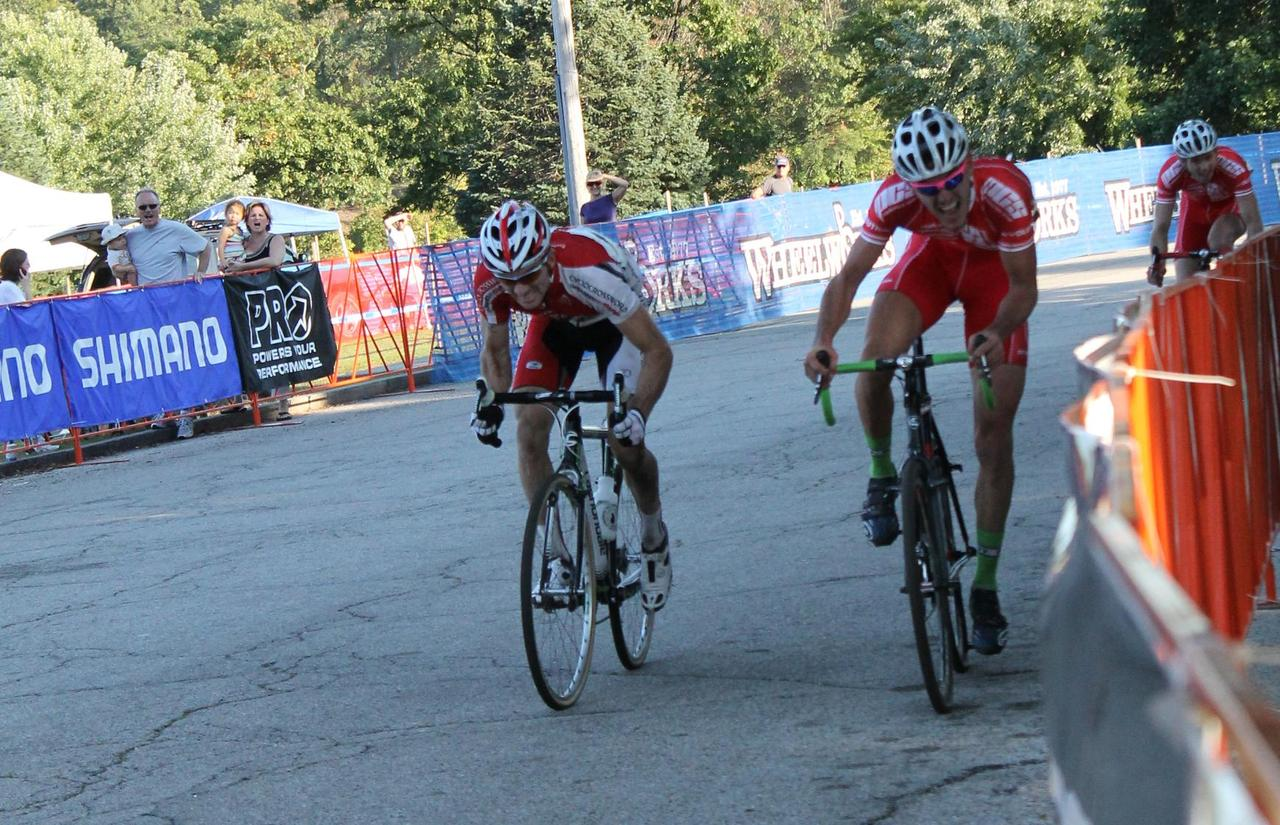 Two riders sprint to the finish. © Cyclocross Magazine