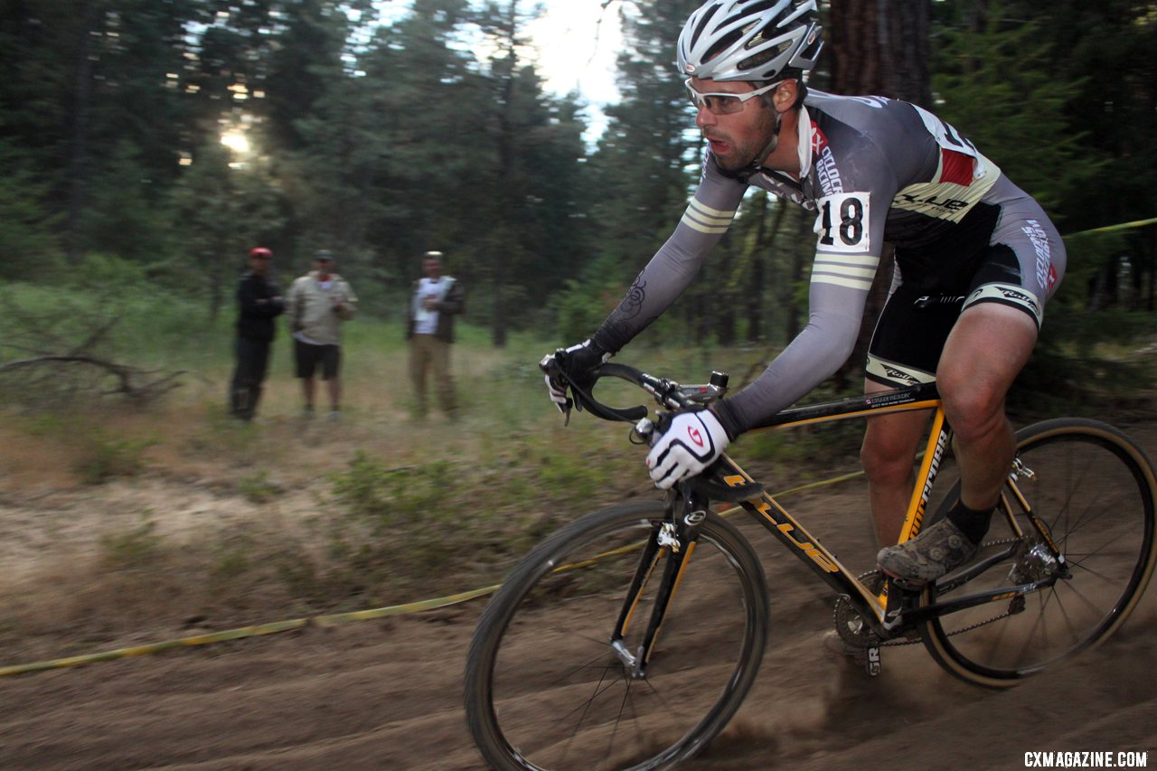 Craig Richey showed determination after a flat to regain a podium position. Raleigh Midsummer Night cyclocross race. © Cyclocross Magazine