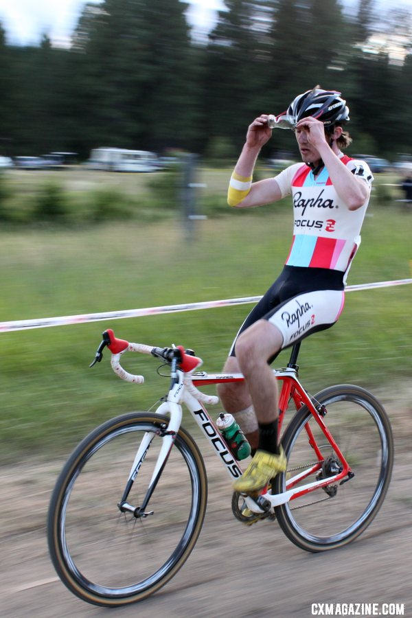 McDonald rolls it in for third. Raleigh Midsummer Night cyclocross race. © Cyclocross Magazine