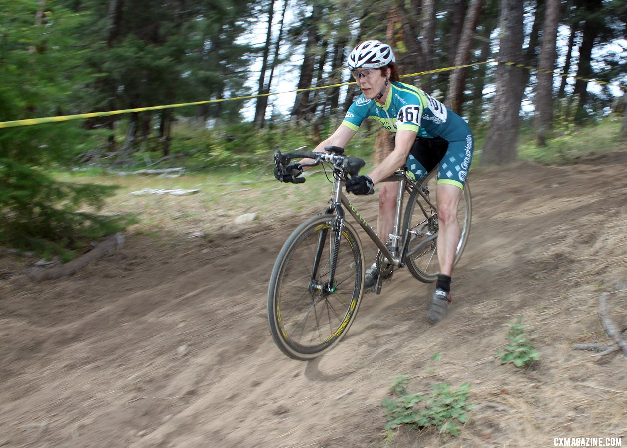The Raleigh Midsummer Night\'s cyclocross course\'s downhilll caught many riders by surprise. © Cyclocross Magazine