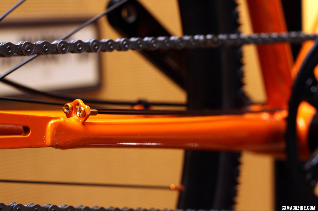 Spare spokes are included as a chainstay protector on the Furley and Roper steel singlespeed bikes. © Cyclocross Magazine
