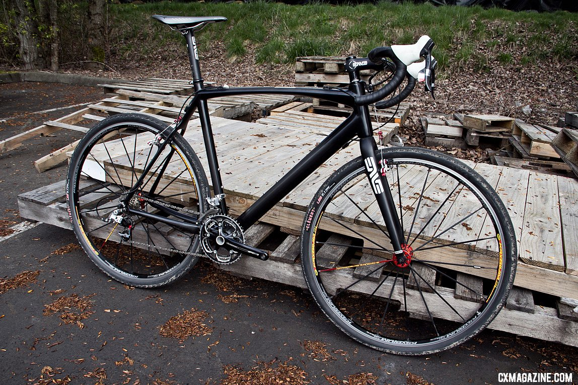 The new Raleigh carbon cyclocross bike, in prototype form.