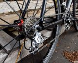 The new Raleigh carbon cyclocross bike features a derailleur hanger and gears.