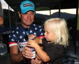 Page celebrating the night with his daughter. 2013 Raleigh Midsummer Night's race. © Cyclocross Magazine