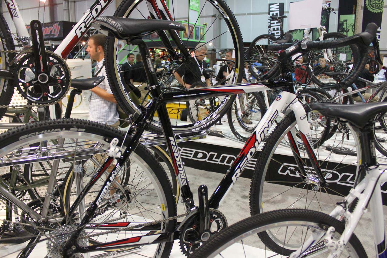 The Redline booth was full of cyclocross, with six Conquest models. © Cyclocross Magazine