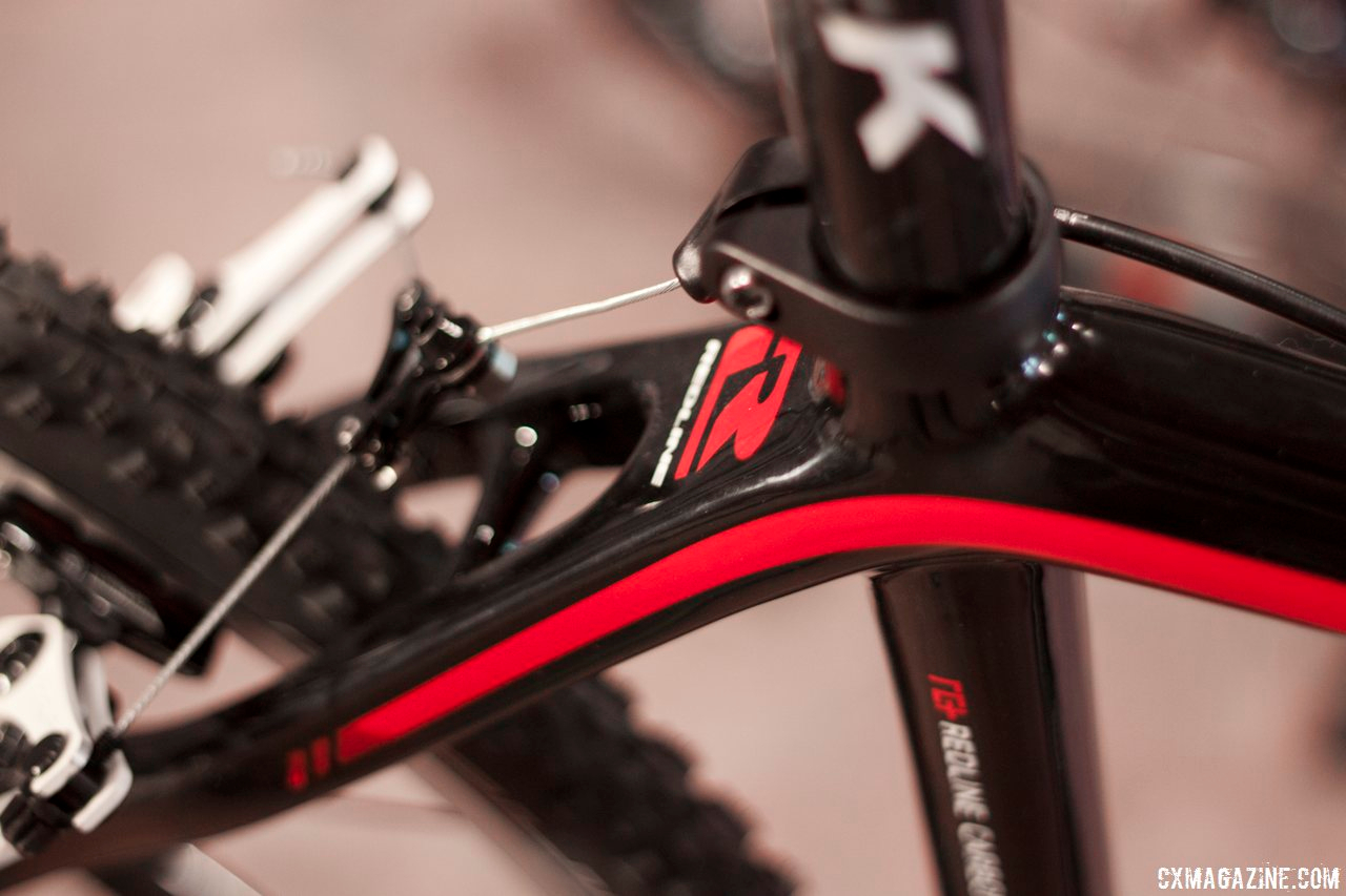 The rectangular seat stays on the 2014 Redline Conquest Team carbon cyclocross bike leave ample clearance for fatter tires and muddy debris. © Cyclocross Magazine