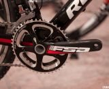The Redline Conquest Team carbon cyclocross bike is outfitted with an FSA Energy BB30 crankset that features carbon crank arms, and alloy 46/34T cross-specific chainrings. © Cyclocross Magazine