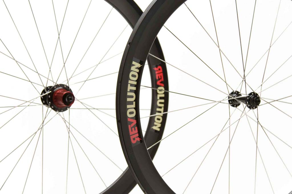 Revolution Wheelworks Rev-50X carbon tubular wheels.