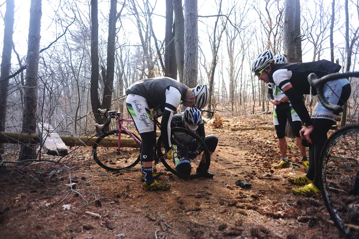 Matt Roy converts a bike to singlespeed after the derailleur broke off.? Natalia McKittrick