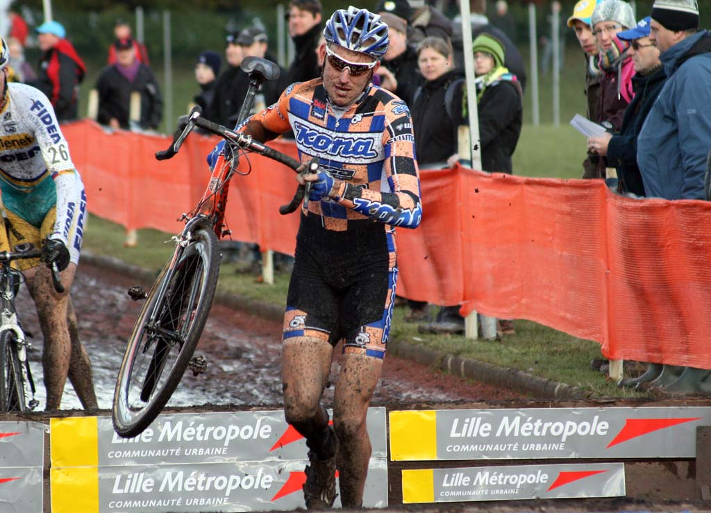 The lanky Trebon had no problem with the barriers. ? Bart Hazen