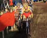 Klaas Vantornout and Bart Wellens lead group through the mud. ? Bart Hazen