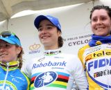 The women's podium with Marianne Vos, Daphny van den Brand and Nikki Harris © Bart Hazen