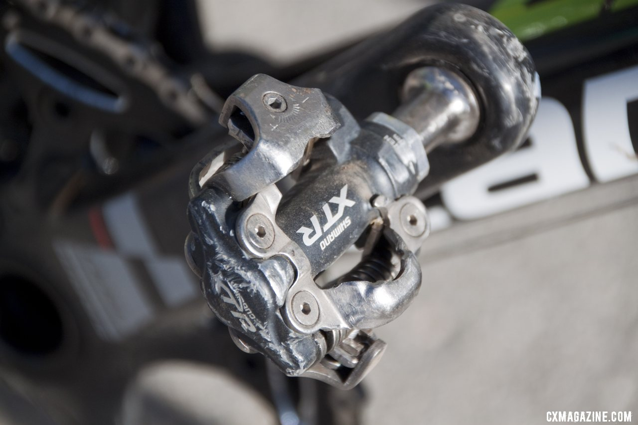 Ryan Trebon opts for Shimano\'s M970 XTR SPD pedals. © Cyclocross Magazine