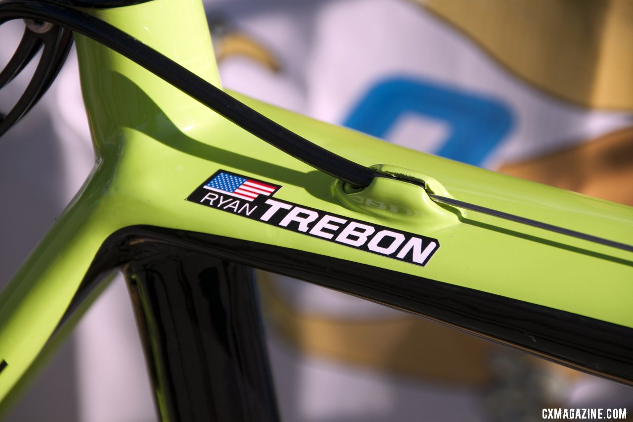 Ryan Trebon\'s custom Cannondale SuperX cyclocross bike is the tallest team bike by far, but it is labeled just in case. © Cyclocross Magazine