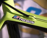 Ryan Trebon's custom Cannondale SuperX cyclocross bike is the tallest team bike by far, but it is labeled just in case. © Cyclocross Magazine