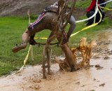 Deep puddles caught several riders and sent them over their handlebars. © Tim Westmore