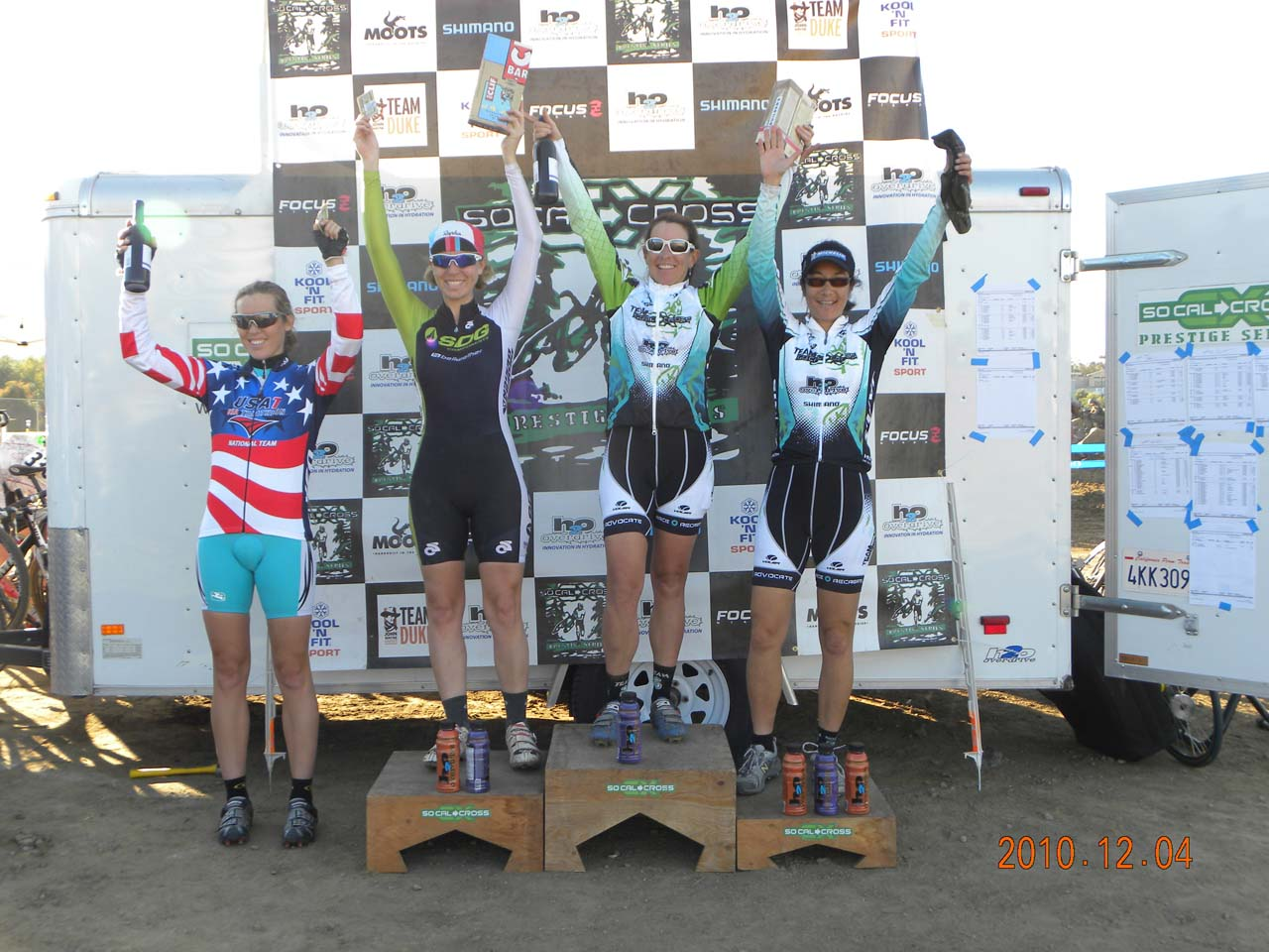 The Elite Women's podium. © Kenneth Hill, Light and Shadow Photography