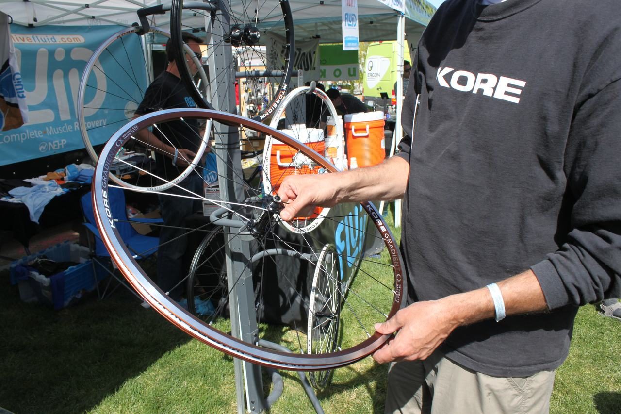 Kore showed off their new 1610g Gradient CX wheels that feature some cyclocross-specific features - not just more spokes. ? Cyclocross Magazine