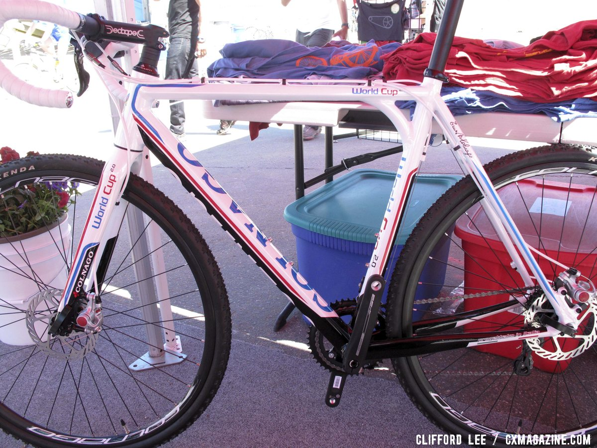 Colnago\'s 2013 World Cup aluminum cyclocross bike will be disc only. Sea Otter 2012. ©Clifford Lee