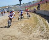 The three race leaders, with Vos out front, at Sea Otter short track race 2013. © Cyclocross Magazine