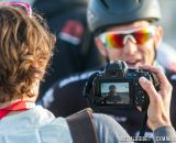 Interviewing Ben post-race during cyclocross at Sea Otter. © Mike Albright