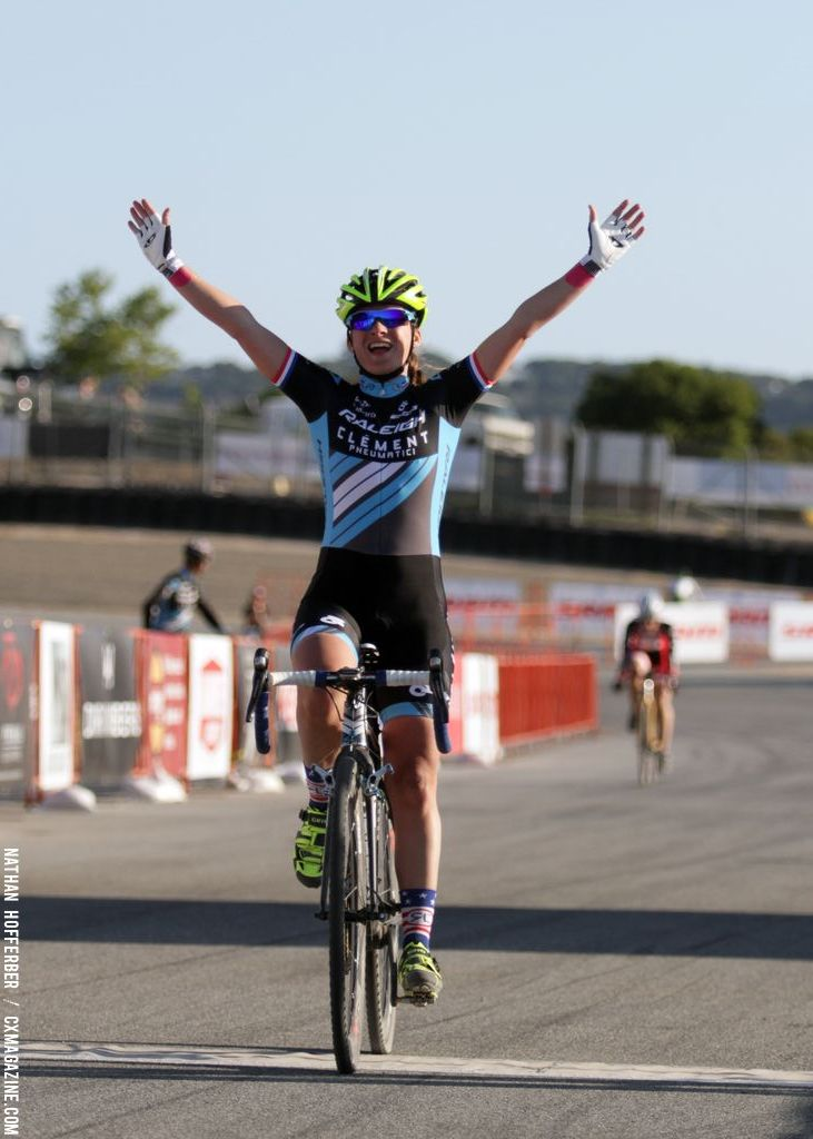 Mani takes the Elite women\'s win at the Raleigh cyclocross race at Sea Otter. © Cyclocross Magazine