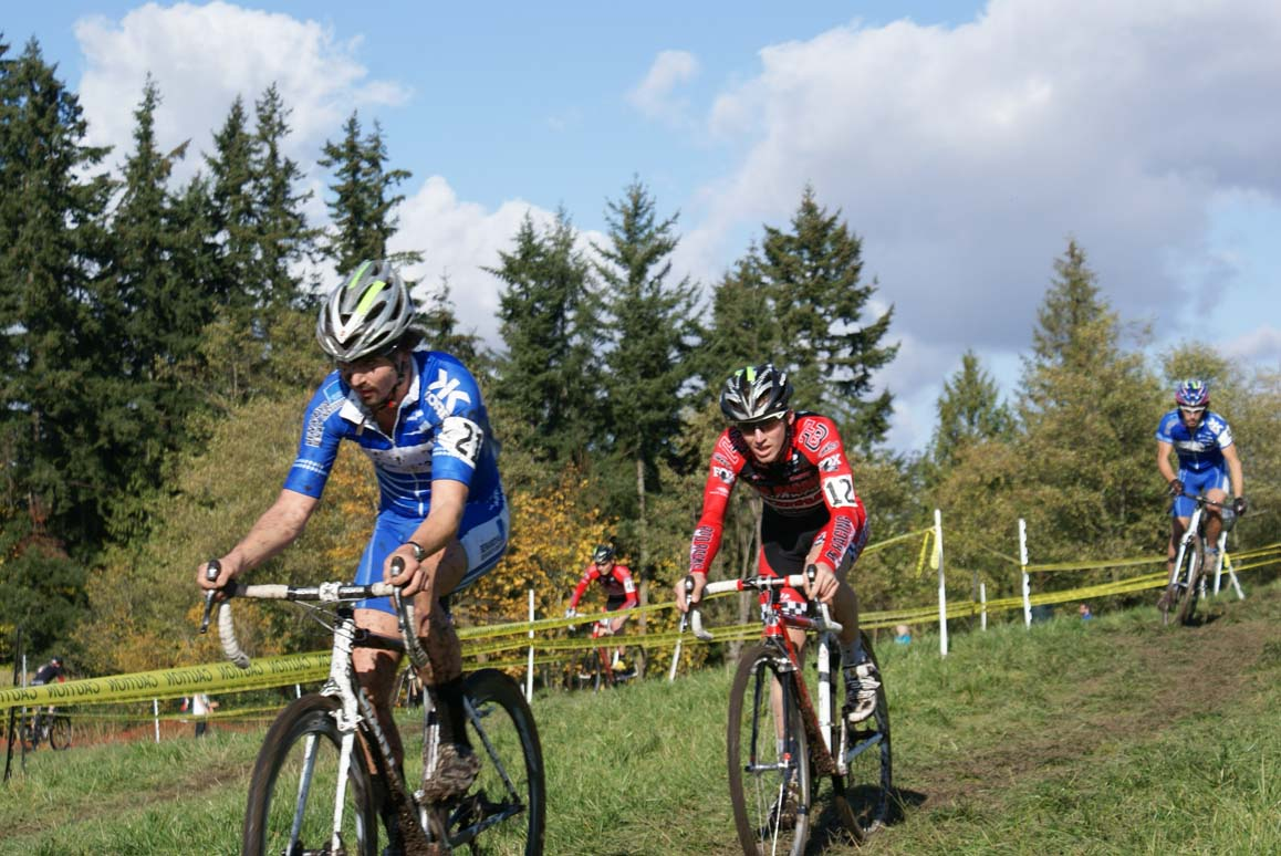 Toby Swanson (BRI) leads Steve Fischer (Rad Racing) early on before Fischer rode away. Seattle Cyclocross #5, Maris Farm, November 1, 2009. ? Kenton Berg