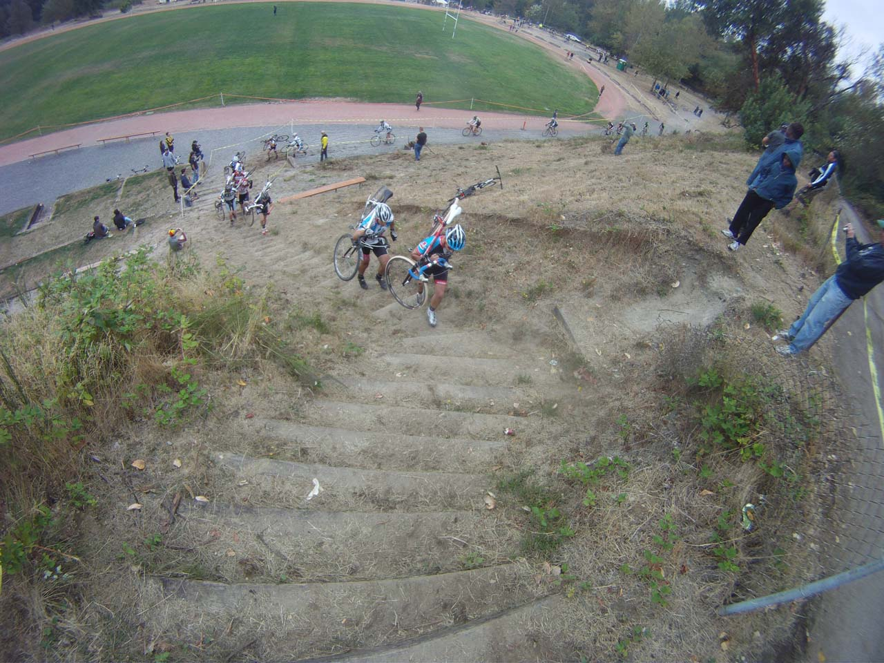 Chad Berg leads the 1/2 Masters field up the stairs