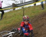 A junior goes down on one of the muddier sections© Janet Hill